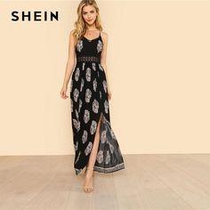 e300ad3548f2 V Neck Spaghetti Strap Sleeveless Maxi Dress Summer Tribal High Waist Dress  Women s Fashion Dresses