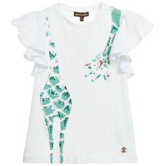 Roberto Cavalli Girls White Sequin Giraffe T-Shirt at Childrensalon.com