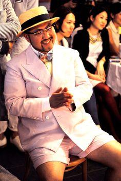 STREETPER: Korea Seersucker Day Big Men Fashion, Men's Fashion, Fashion Tips, Style Simple, Men's Style, Types Of Shorts, Plus Size Men, Semi Casual, Big Guys
