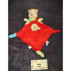 Nicotoy Disney  Winnie L'ourson Plat Carré Orange Rouge Echarpe Rayée Abeille Brodée