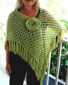 Crochet Shawl Green Shoulder Wrap Citron Lime Flower Pin Netted on Etsy, $40.00