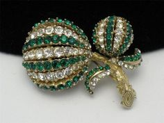 Vintage Signed Ciner Floral Brooch Pin Domed Emerald Ice Rhinestone | eBay