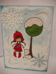 petite fille et renard blanc sous la neige marzisa