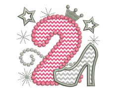 Happy Bithday Number 2 Pink Glamour for Girl by EmbroideryLand