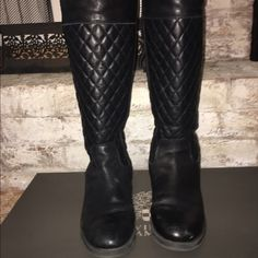 VINCE CAMUTO LETHER CALF WIDE BOOTS Vince Camuto never disappoints when it comes to his boots. These size 9 black leather calf wide boots are awesome when it comes to winter fashion, you can wear them with almost anything. I've had these boots for over a year and the leather and shoe are in great condition. Vince Camuto Shoes Winter & Rain Boots
