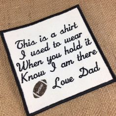Football Memory Pillow Patch - SEW or IRON-ON, 2 Sizes, Memorial Patch, This is a shirt I used to wear, Shirt Pillow Patches, Memory Patches #memorypatches #thisisashirt