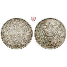 Deutsches Kaiserreich, 1/2 Mark 1908, E, vz-st, J. 16: 1/2 Mark 1908 E. J. 16; vorzüglich-stempelfrisch, kl. Kratzer auf Vs. 45,00€ #coins