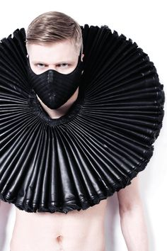 David Menkes Leather, ruff collar and mask