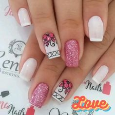 Nail Art Designs, Simple Nail Designs, Acrylic Nail Designs, Nails Design, Diy Nails, Cute Nails, Pretty Nails, Black Acrylic Nails, Pink Nail Art