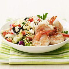 #Healthydinner idea: #greek bulgar salad with #shrimp.