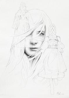 Ricardo Fumanal - Sarah Burton for V Magazine - Fashion Illustration Gallery