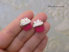 miniature chocolate cupcake studs with rainbow by Chocoholicjewels