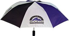 MLB Colorado Rockies Umbrella by Totes. $16.99. Show your team spirit and pride. Rubber soft grip handle with carrying strap. 2 Team Logos on Canopy. Push button automatic open. Officially licensed MLB merchandise. Folded Length: 15-Inch Canopy Arc: 42-Inch