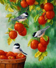 Bird Painting - Apple Harvest Chickadees Painting by Crista Forest - Bird Painting - Apple Harvest Chickadees Fine Art Prints and Posters for Sale Apple Painting, Painting & Drawing, Fine Art Amerika, Motifs Animal, Apple Harvest, Harvest Time, Watercolor Bird, Bird Art, Oeuvre D'art