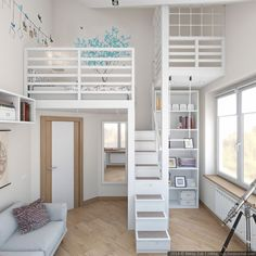 modern children's room raised bed storage canape gray modernes Kinderzimmer Hochbett Stauraum Canape grau