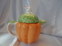 Cute 1980s carrot teapot with bunny on top by VintageAdorables, $10.00