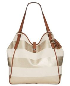 TOMMY HILFIGER Tommy Hilfiger Hazel Woven Rugby Tassel Tote. #tommyhilfiger #bags #leather #hand bags #cotton #tote #metallic #