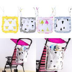 Baby Stroller Accessories Hanging Bag Pushchair Carriage Bed Cotton Cartoon Bag Crib Organizer Pocket #Affiliate