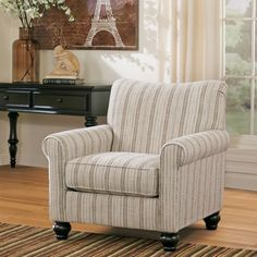 Attirant Signature Design By Ashley Milari Linen/ Maple Striped Accent Chair