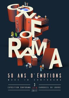 Poster made for Conforama to illustrate their 50 year anniversary.All the scenes represent a part of what Conforama sells. Graphic Design Trends, Graphic Design Inspiration, Typography Prints, Graphic Design Typography, Design Thinking, Font Art, Type Illustration, Typographic Poster, Conceptual Design