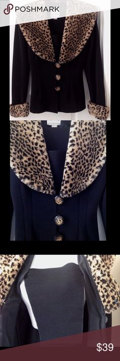 Vintage Joseph Ribkoff Creations Leopard Jacket Vintage Joseph Ribkoff Creations Leopard trim Jacket. Size tag has been removed, but I will post measurements.  I would guess around a size 12, Ribkoff sizing, which runs small.  Beautiful quality, excellent condition. No issues that I see. Joseph Ribkoff Jackets & Coats Blazers