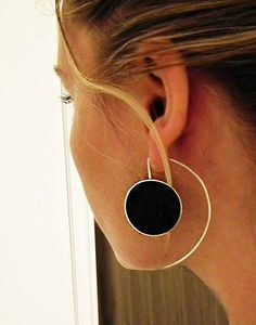 Big Silver and Black Resin Earrings Made to Order by Ivana Vucinovic