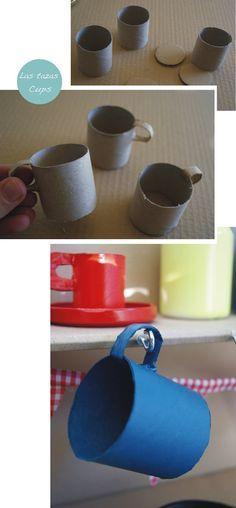 tea cups in a cardboard kitchen. diy