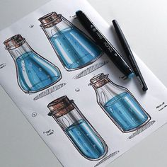 WEBSTA @ abidurchowdhury - Really quick cork vials/flasks filled with water. A really fun, simple and quick exercise if you want to try it! Design Café, Sketch Design, Design Ideas, Image Clipart, Art Clipart, Presentation Techniques, Bottle Drawing, Copic Drawings, Water Bottle Design