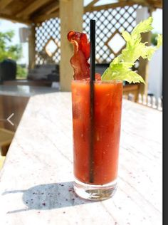 Bacon Bloody Mary- House infused bacon vodka, garnished with a celery stalk & piece of bacon.