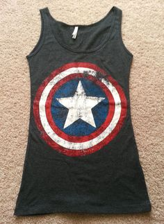 *CAPTAIN AMERICA*...Marvel s Original Logo   Women s Charcoal  Tank Top