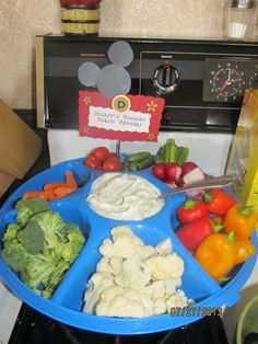 All food was named after a Mickey Mouse clubhouse character for the twins first birthday party. Here we have Daisy's Garden Fresh Veggies.