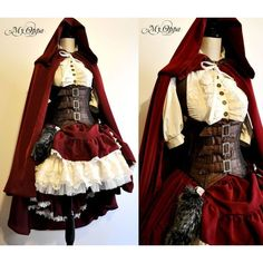 Little red riding hood steampunk by My Oppa by myoppa-creation ❤ liked on Polyvore featuring dresses