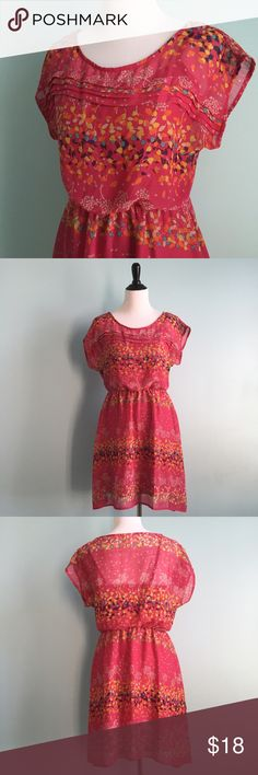 Pink Printed Dress Pink printed dress with pink slip underneath. Orange and yellow floral detailing with pleating on bodice. Size medium by Mossimo supply co. In excellent condition. Mossimo Supply Co. Dresses