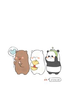 credits to chxrry. Cute Panda Wallpaper, Funny Iphone Wallpaper, Bear Wallpaper, Cute Disney Wallpaper, Kawaii Wallpaper, We Bare Bears Wallpapers, Panda Wallpapers, Cute Cartoon Wallpapers, Ice Bear We Bare Bears