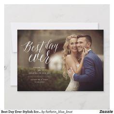 Best Day Ever Stylish Script Photo Modern Wedding Thank You Card by fatfatin Thank You Messages, Thank You Note Cards, Wedding Thank You Cards, Thank You Photos, Best Day Ever, Photo Cards, Design Elements, Script, Wedding Photos