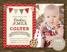Cookies and Milk, Red- Printable - FREE pennant banner and thank you card with purchase