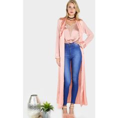 Two Tone Chiffon Satin Belted Duster Coat ROSE ($32) ❤ liked on Polyvore featuring outerwear, coats, pink, duster coat, rose coat, pink waist belt, chiffon coat and sexy coats