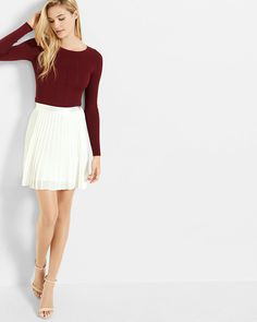 ribbed lace up back crew neck sweater