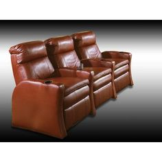 Row One RKO Home Theater Recline (Row of 3) Upholstery - Color: Top Grain Leather / Vinyl Match - Pecos Black