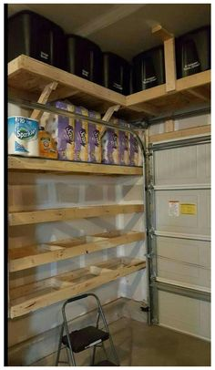 Garage Shelf, Garage House, Garage Workbench, Diy Garage Storage Shelves, Storage Ideas For Garage, Lumber Storage, Garage Bar, Garage Cabinets, Workbench Plans