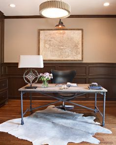 Amanda Carol Interiors -Masculine office #cowhide #currey&company #aidengray