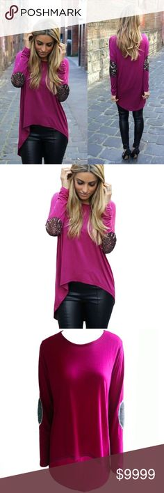 High Low Top This sequin patched beauty high low top is a stunner. The color is absolutely beautiful and great for the upcoming season. Measurements will be added upon arrival! Tops Tees - Long Sleeve