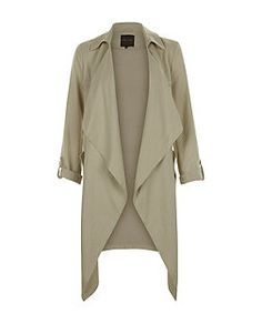 Manteau long kaki effet cascade | New Look