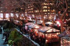 Bryant park shops open November through December, free ice rink