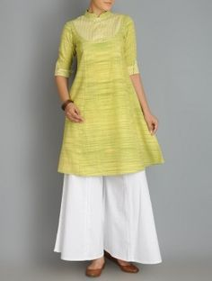 Lime Green Roll-Up Sleeve Kalidar Khadi Kurta