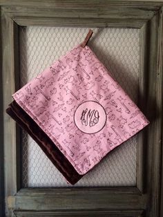 Circle Monogram Minky Blnket Pink Zoo Animal by TBEmbroidery4You