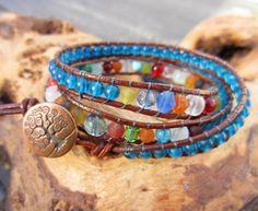 Rainbow  Bracelet. Boho Bracelet Leather by RoseMoonBoutique
