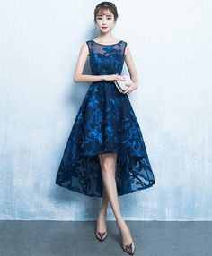 Dark blue high low short prom dress, lace evening dress