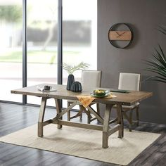 Industrial Rectangle Grey Wood & Silver Metal Dining Table Concrete Dining Table, Solid Wood Dining Table, Round Dining Table, Wood Table, Dining Room Table, Crate Table, Dining Furniture, Vintage Furniture, Drop Leaf Table