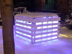 #Light, #RecycledPallet Sides of pallets painted white, floor is white plywood, roof is plexiglass with emergency blanket. Illuminated by a yellow fluorescent in the bottom and 2 red or blue fluorescent at the top of the rear pallet. Made in Pittsburgh -